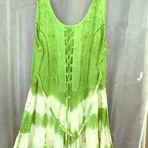 Green and white summer dress